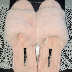 FRENCH CONNECTION FAUX FUR PINK OPEN TOES SLIPPERS